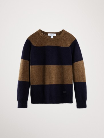 COLOUR BLOCK WOOL/CASHMERE SWEATER