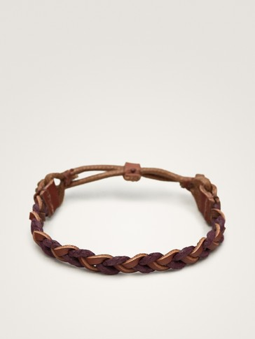 CONTRASTING BRAIDED LEATHER BRACELET