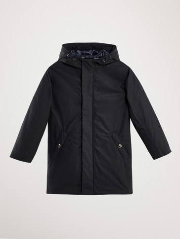 NAVY PARKA-STYLE DOWN JACKET