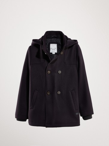 NAVY WOOL COAT WITH HOOD