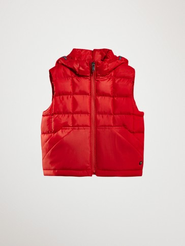 PUFFER GILET WITH REMOVABLE HOOD