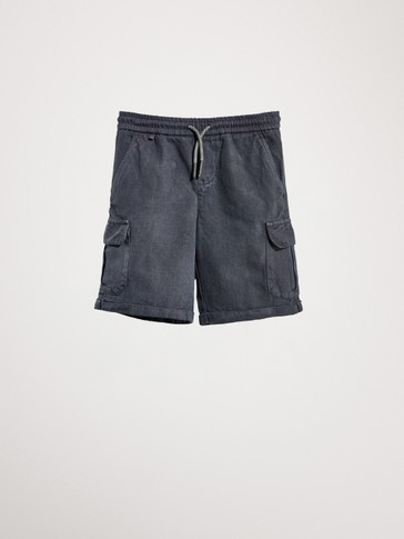 COTTON AND LINEN BERMUDAS