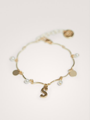 FAUX PEARL AND LETTERING BRACELET