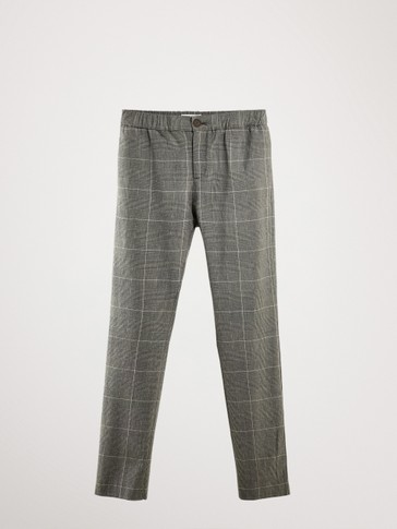CHECK COOTTON TROUSERS