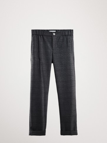 FLOWING CASUAL FIT CHECK TROUSERS