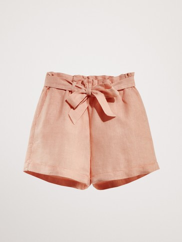 100% LINEN BERMUDAS WITH TIE BELT