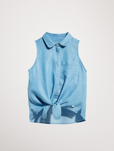 LYOCELL TOP WITH TIE DETAIL