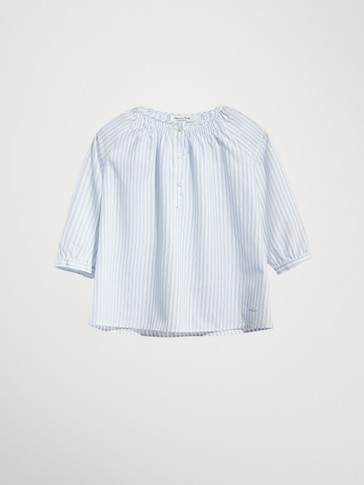 STRIPED 100% COTTON BLOUSE