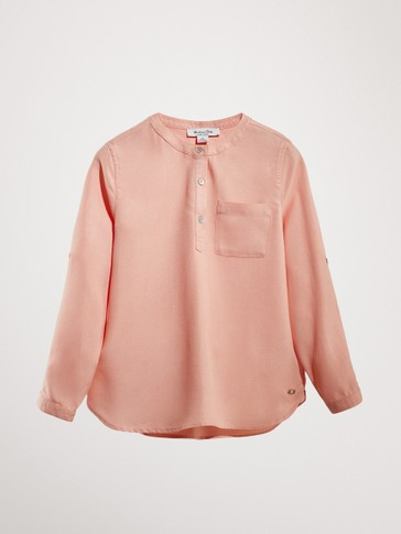 STAND-UP COLLAR SHIRT WITH POCKET