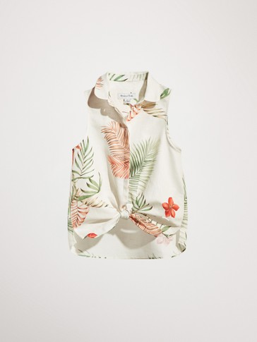 TROPICAL PRINT LINEN TOP