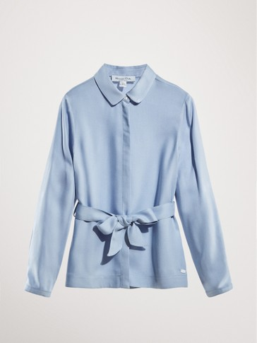 SHIRT WITH BOW-STYLE BELT