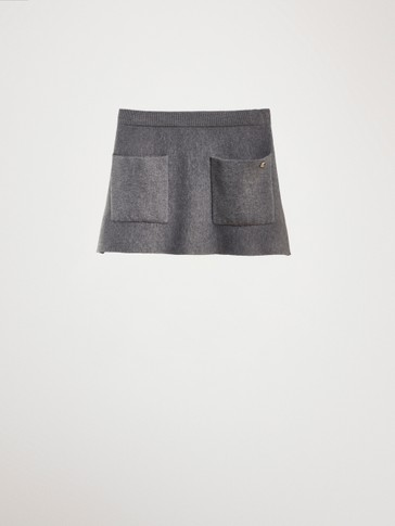 COTTON KNIT SKIRT WITH POCKETS