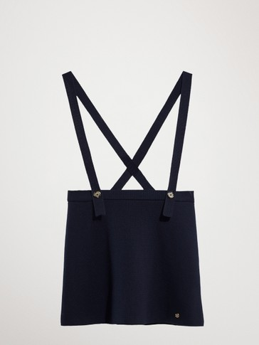 NAVY COTTON SKIRT WITH BRACES