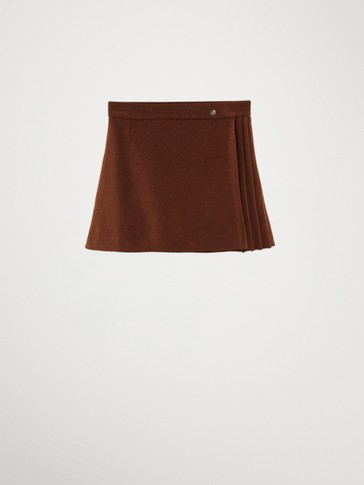 COTTON SKIRT WITH PLEAT DETAIL