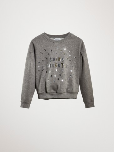 'SHINE BRIGHTLY' SEQUINNED COTTON SWEATSHIRT