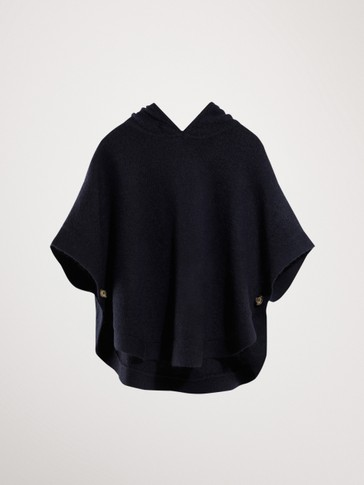 NAVY CAPE WITH HOOD