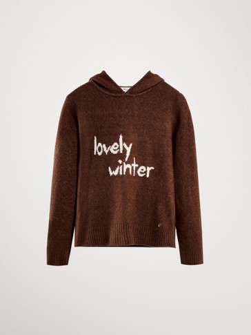 HOODED SWEATER WITH SLOGAN