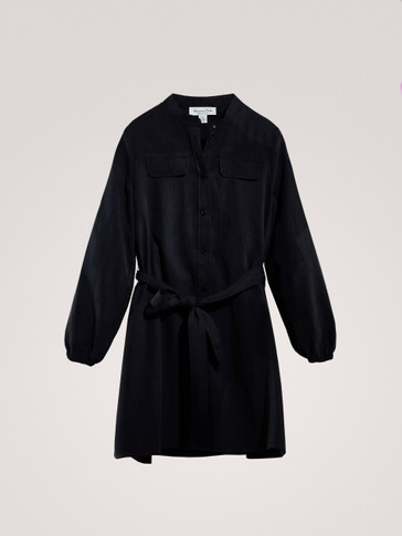 LYOCELL SHIRT DRESS WITH TIE BELT