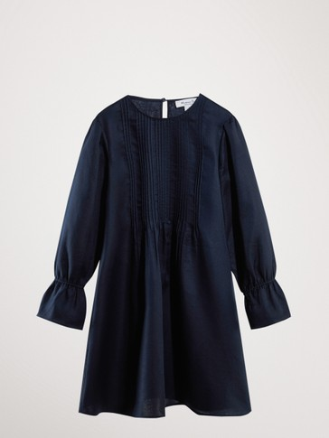 COTTON NAVY DRESS WITH PLEATS