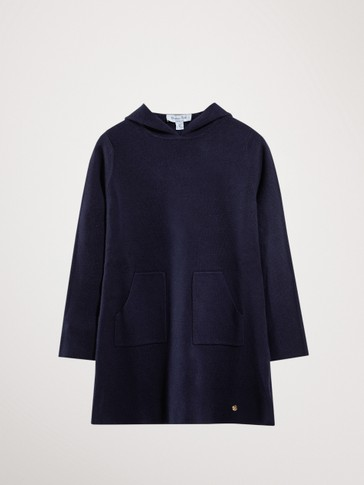 COTTON AND CASHMERE DRESS WITH HOOD