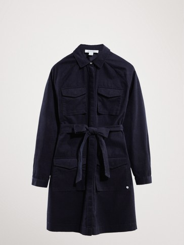FINE CORDUROY NAVY SHIRT DRESS