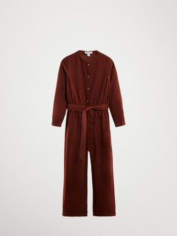FINE CORDUROY JUMPSUIT WITH BELT