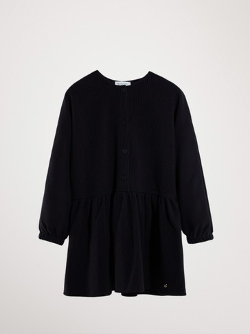 BLACK OTTOMAN DRESS WITH BUTTONS