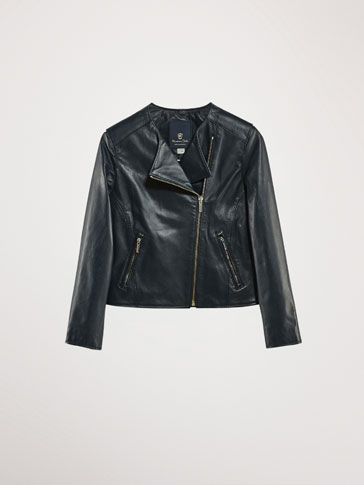 NAVY NAPPA LEATHER BIKER JACKET