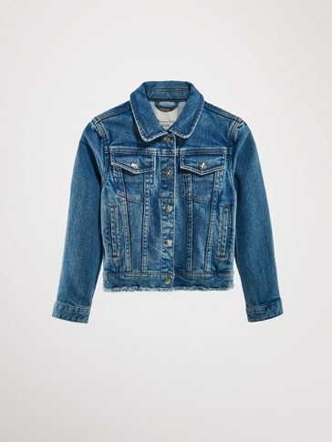DENIM JACKET WITH FRAYED EDGE