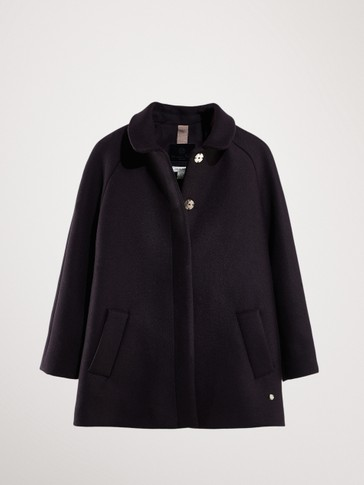 NAVY BLUE WOOLLY COAT