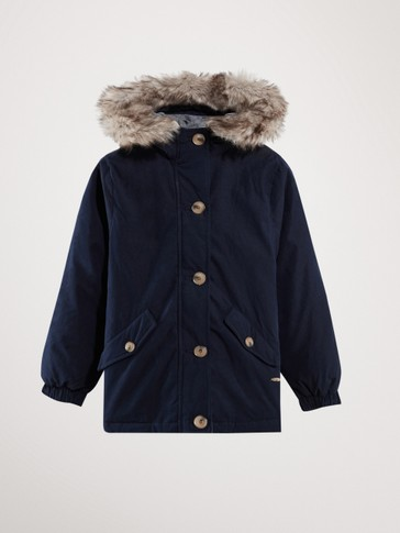 NAVY BLUE DOWN PARKA WITH HOOD