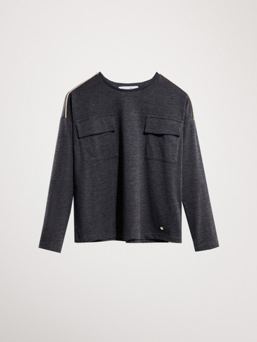 COTTON LONG SLEEVE T-SHIRT WITH POCKET DETAILS