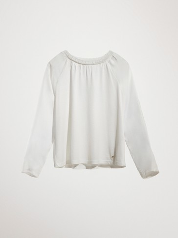LACE-TRIMMED COTTON T-SHIRT