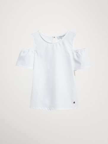 100% COTTON T-SHIRT WITH SHOULDER DETAIL