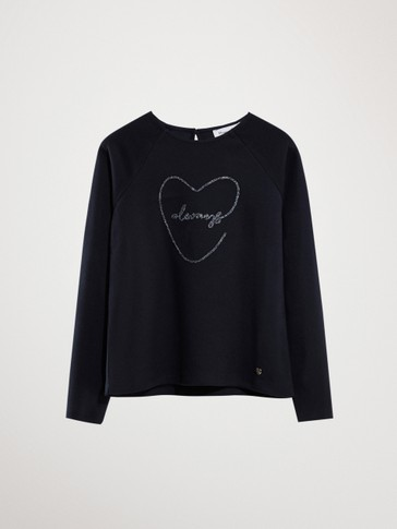 NAVY COTTON HEART LONG SLEEVE T-SHIRT