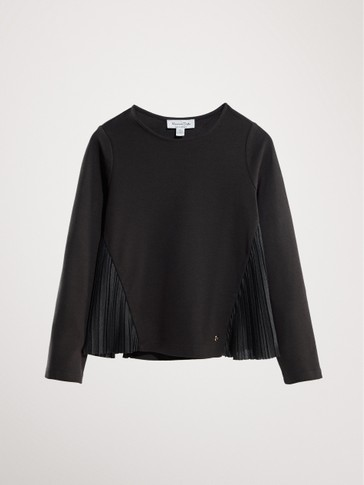 LONG SLEEVE T-SHIRT WITH PLEATED DETAIL