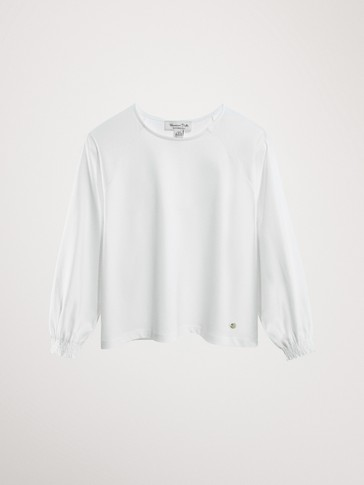 COTTON T-SHIRT WITH CUFF DETAIL