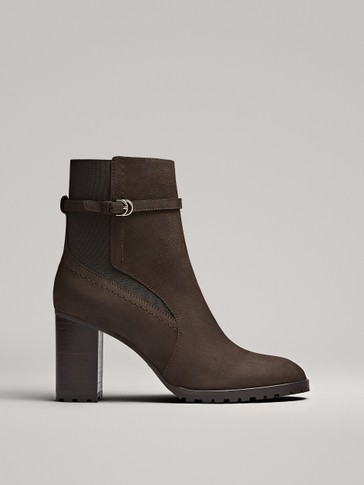 BROWN HIGH-HEEL ANKLE BOOTS
