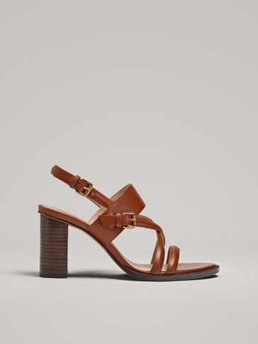 TAN LEATHER HIGH-HEEL SANDALS