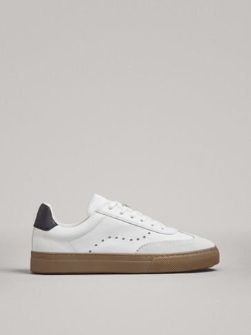 WHITE LEATHER PLIMSOLLS WITH BLACK HEEL TAB