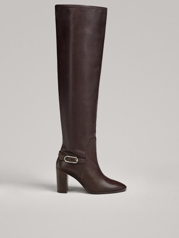 BOTTES MOUSQUETAIRES MARRON À TALON LIMITED EDITION