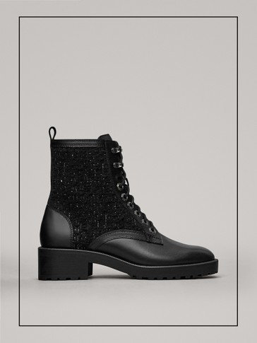 LACE-UP FABRIC ANKLE BOOTS