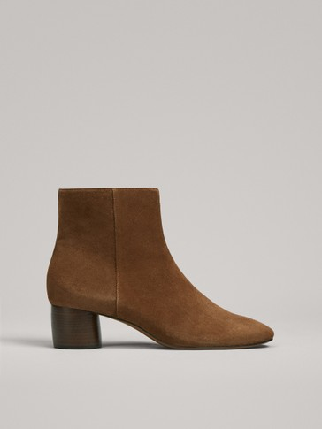 BOTTINES EN CROÛTE DE CUIR À TALON ARRONDI