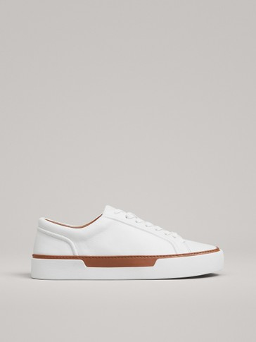 PLIMSOLLS WITH LEATHER DETAILS