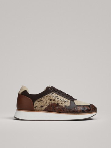 CONTRASTING ANIMAL PRINT TRAINERS