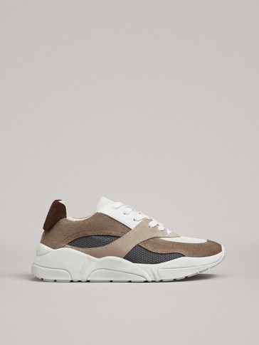 CONTRAST TRAINERS WITH BROWN HEEL TAB