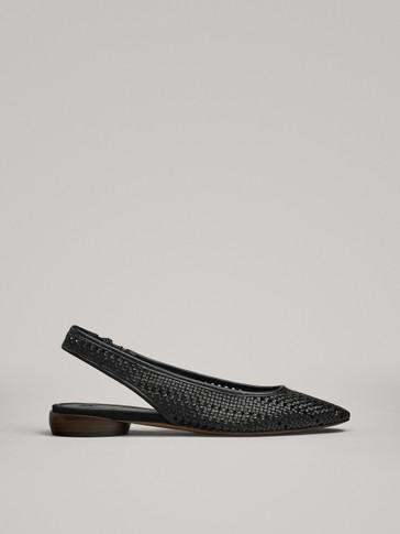 حذاء مسطح مجدول بكعبية مفتوحة