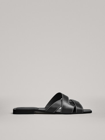 BLACK FLAT SANDALS WITH TOPSTITCHING