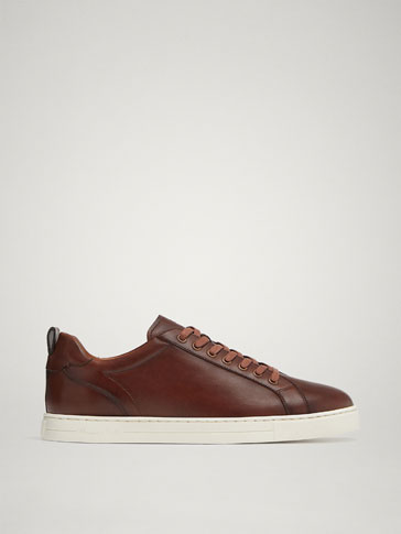 SNEAKERS PELLE NAPPA MARRONE