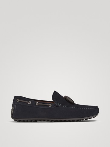 BLUE SPLIT SUEDE TASSEL LOAFERS